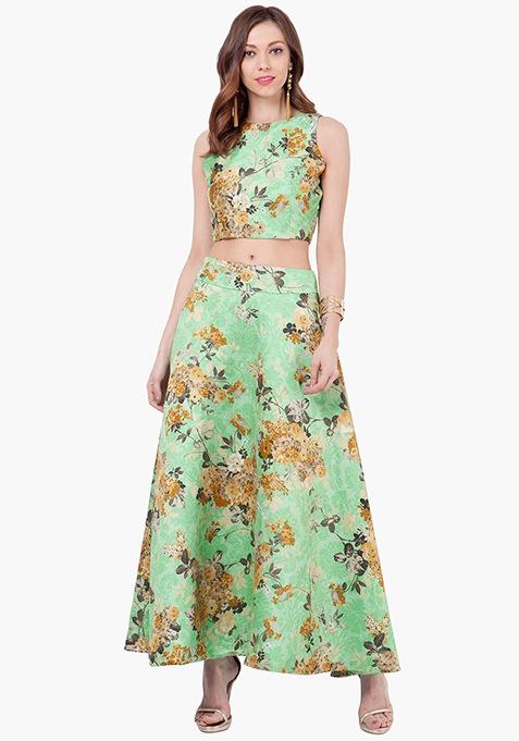 Floral Vine Silk Maxi Skirt - Green