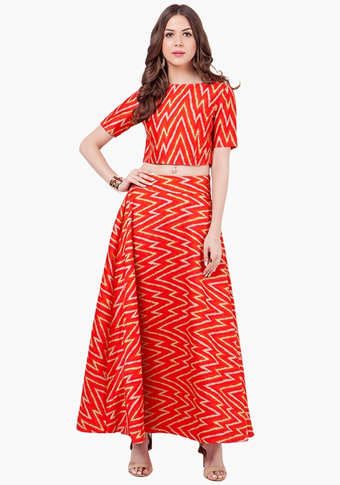 Chevron Cray Silk Maxi Skirt - Red