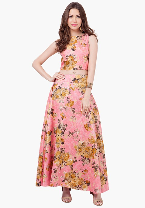 Floral Fusion Silk Maxi Skirt