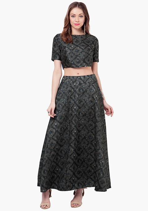 Abstract Attack Silk Maxi Skirt