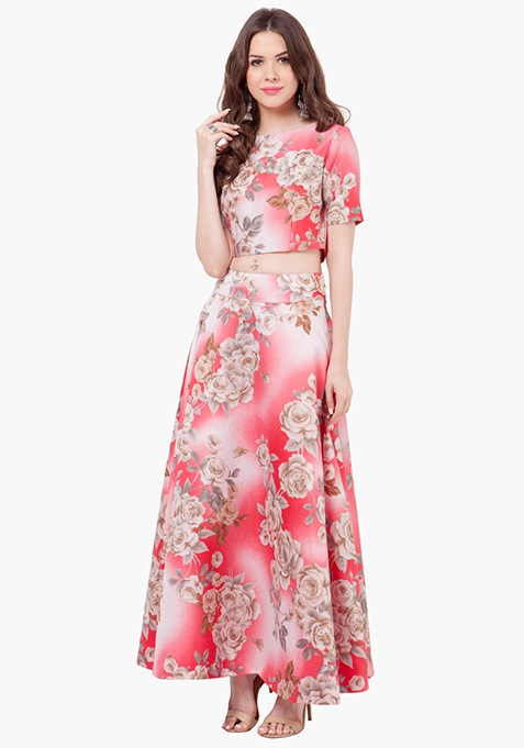 Floral Muse Silk Maxi Skirt - Ombre