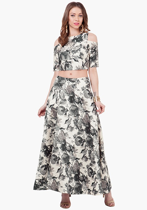 Floral Muse Silk Maxi Skirt - Black