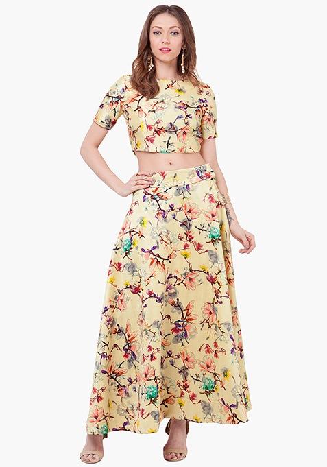 Floral Muse Silk Maxi Skirt - Lemon
