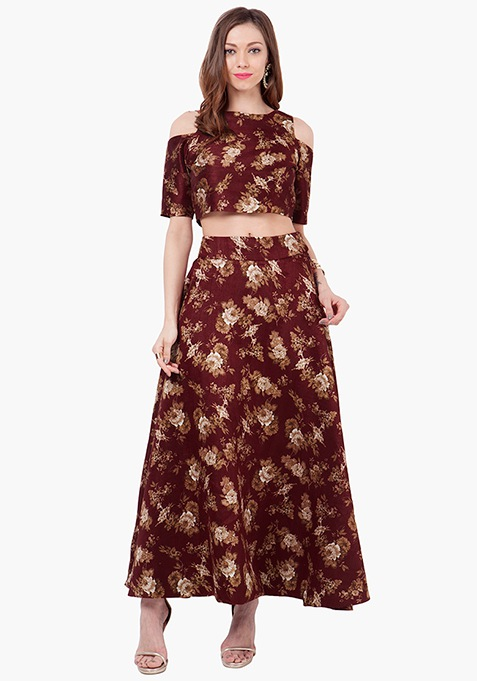 Floral Muse Silk Maxi Skirt - Oxblood