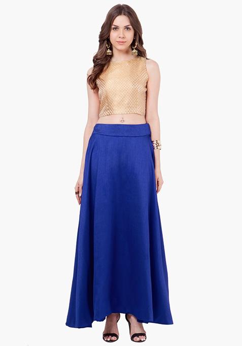 Silk Lush Maxi Skirt - Cobalt Blue