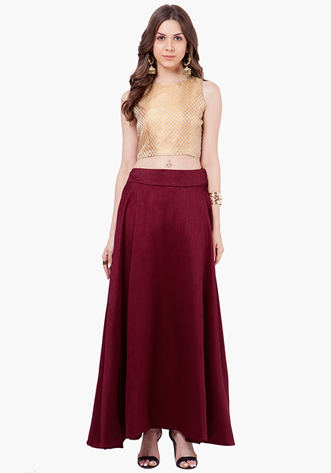Silk Lush Maxi Skirt - Oxblood