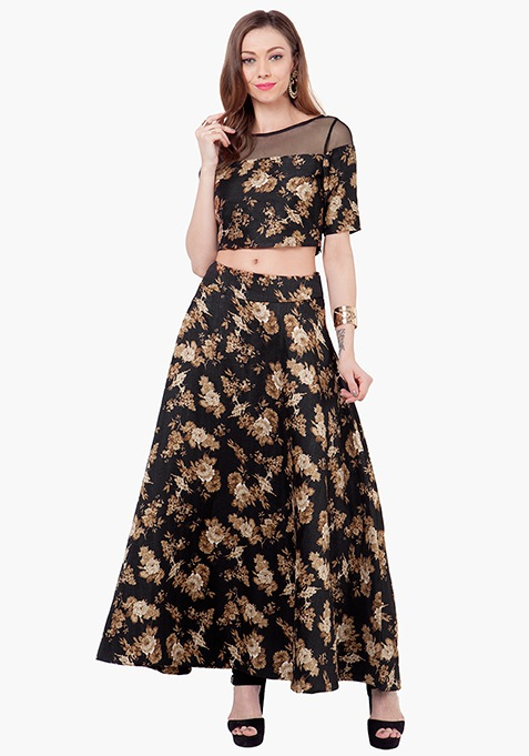 Floral Lore Silk Maxi Skirt - Black