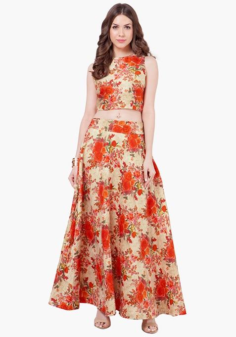 Orange Bloom Silk Maxi Skirt