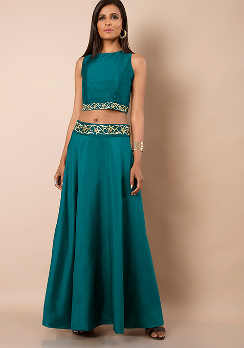 Embroidered Silk Maxi Skirt - Teal