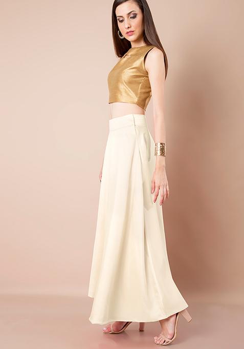 Raw Silk Maxi Skirt - Ivory
