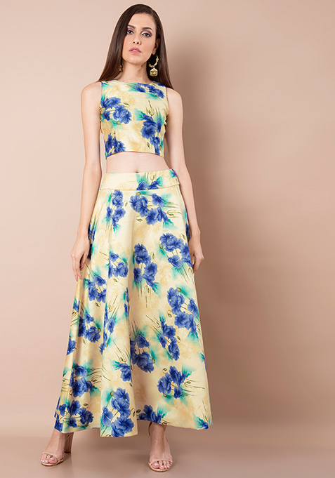 Floral Flame Silk Maxi Skirt