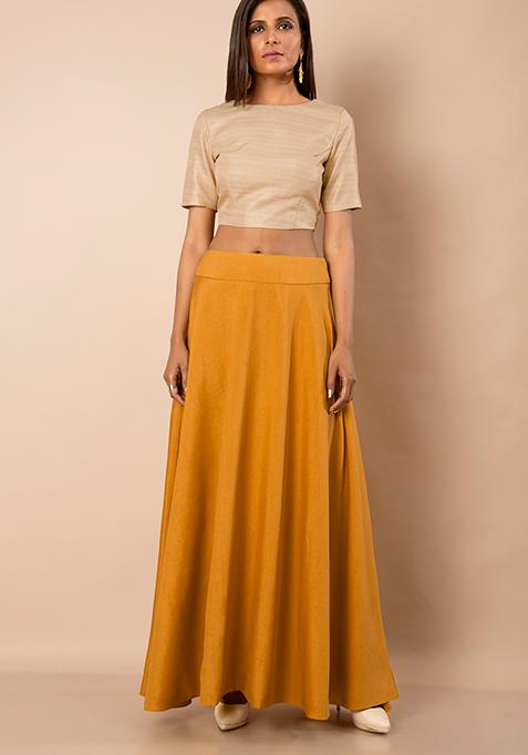 Mustard Silk Maxi Skirt