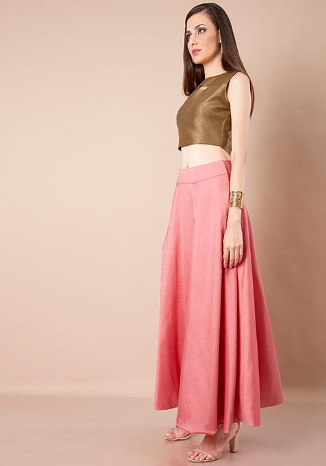 Coral Pink Silk Maxi Skirt