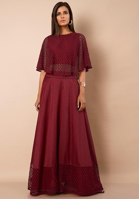 Oxblood Silk Embroidered Hem Maxi Skirt