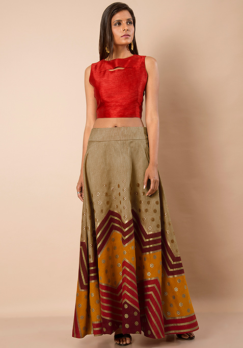 Colorblock Silk Maxi Skirt - Oxblood