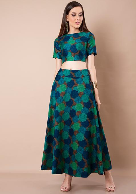 Foliage Floral Silk Maxi Skirt
