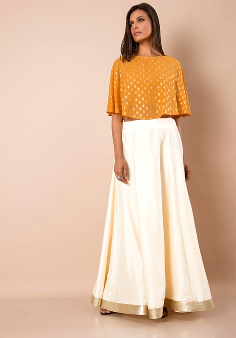 Sequin Border Silk Maxi Skirt - Ivory