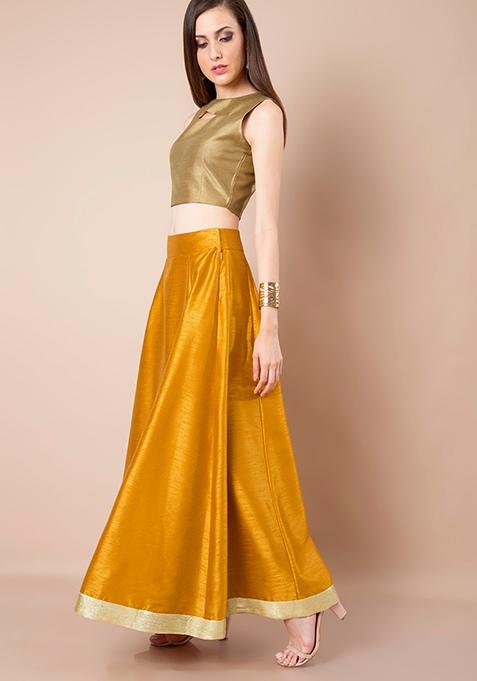 Sequin Border Silk Maxi Skirt - Mustard
