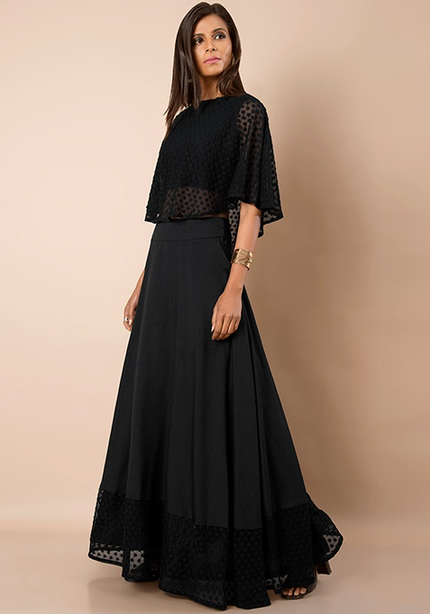 Black Silk Embroidered Hem Maxi Skirt