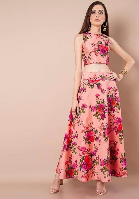 Peach Floral Silk Maxi Skirt