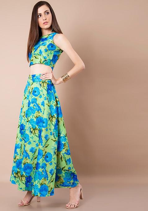 Mint Floral Silk Maxi Skirt