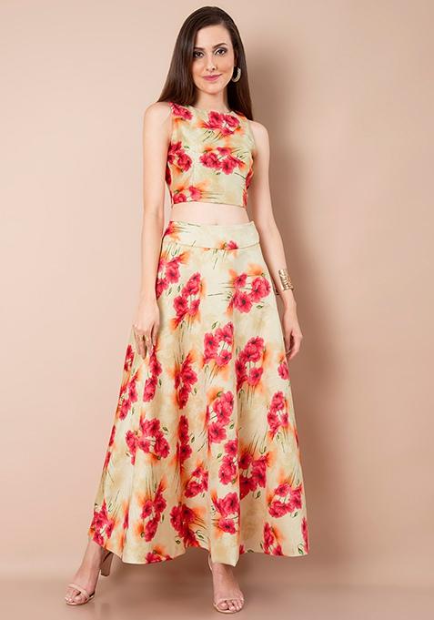 Beige Bloom Silk Maxi Skirt