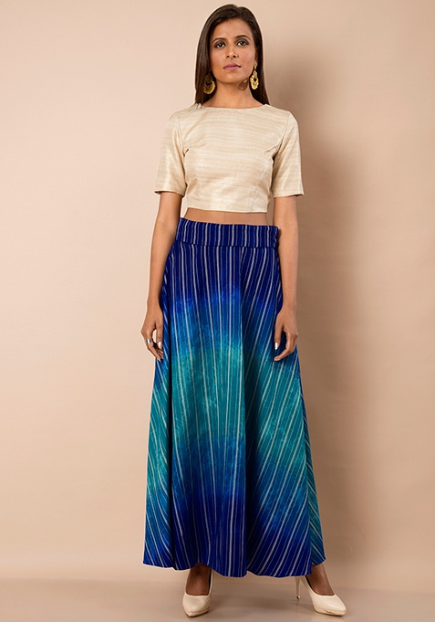 Blue Ombre Silk Maxi Skirt