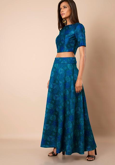 Blue Baroque Silk Maxi Skirt