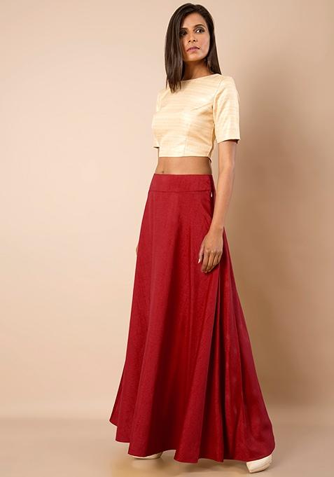 Raw Silk Maxi Skirt - Red