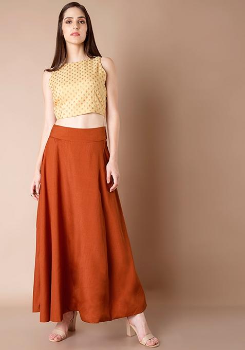 Silk Lush Maxi Skirt - Dark Orange