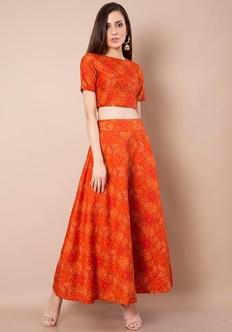 Orange Baroque Silk Maxi Skirt