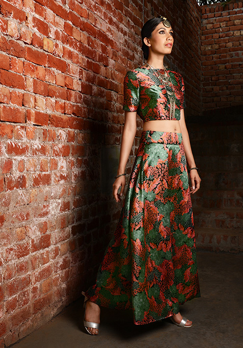Forest Print Silk Maxi Skirt