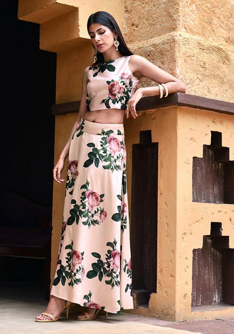 Rose Romance Silk Maxi Skirt