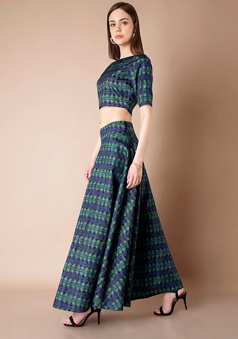 Silk Maxi Skirt - Blue Geometric