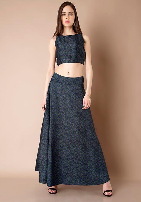 Silk Maxi Skirt - Blue Floral