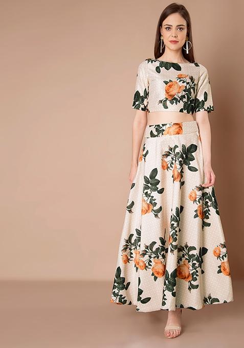 Ivory Floral Silk Maxi Skirt
