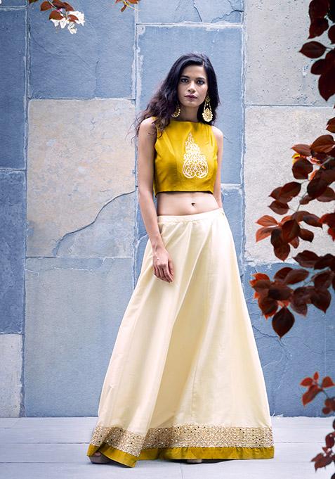 Mustard Border Silk Maxi Skirt - Ivory