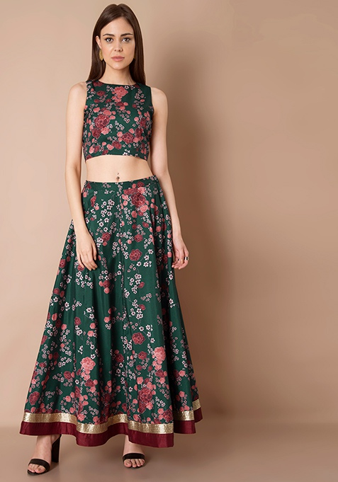 Gold Hem Silk Maxi Skirt - Emerald Floral