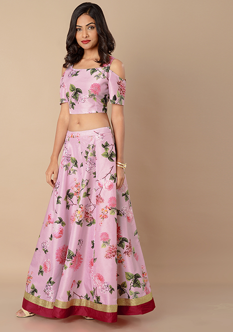 Pink Border Silk Maxi Skirt - Pink Floral