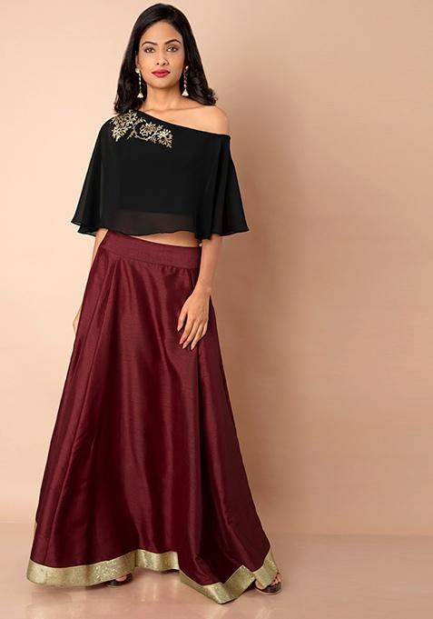 Maroon Sequin Border Silk Maxi Skirt