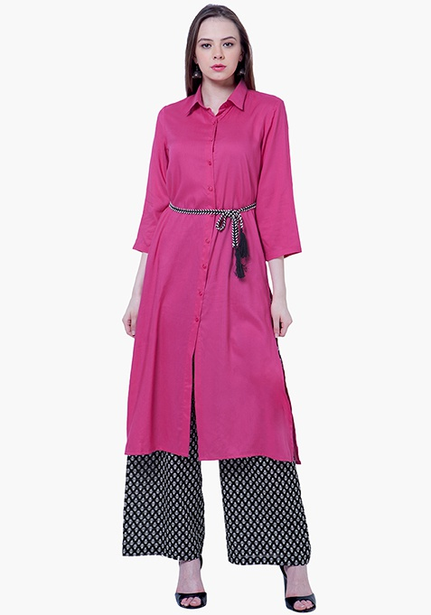 Fuchsia Finesse Shirt Tunic