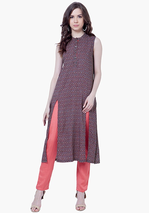 Pink Contrast Tunic - Tribal