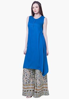 Flirty Hem Tunic Top - Blue