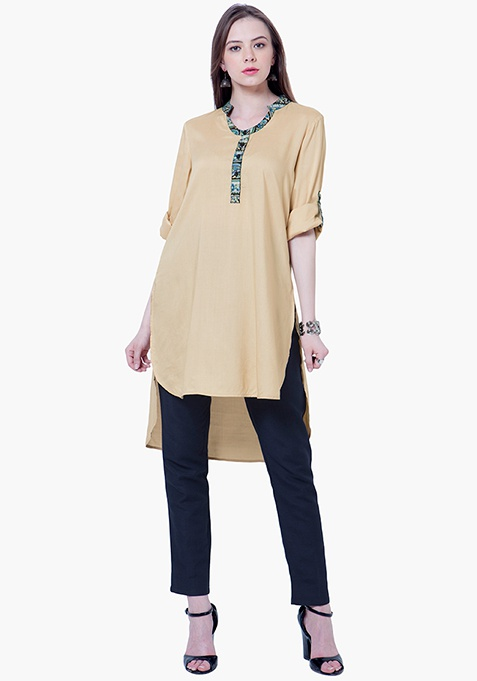 Bell Sleeve Tunic Top - Beige