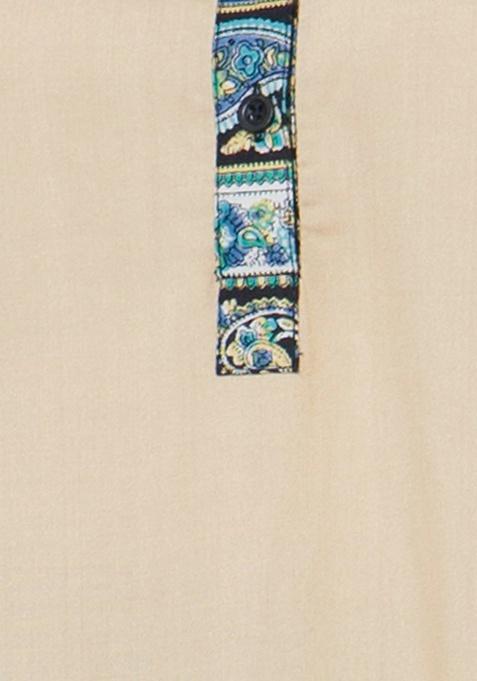 Bell Sleeve Tunic Top - Beige