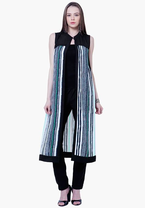 Sheer Grace Maxi Shrug - Stripes