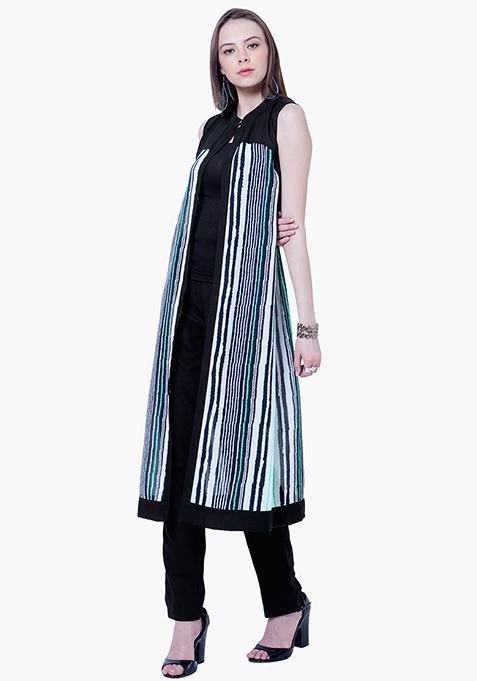Sheer Grace Maxi Shrug - Stripes