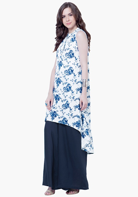 Flared High-Low Tunic - Floral