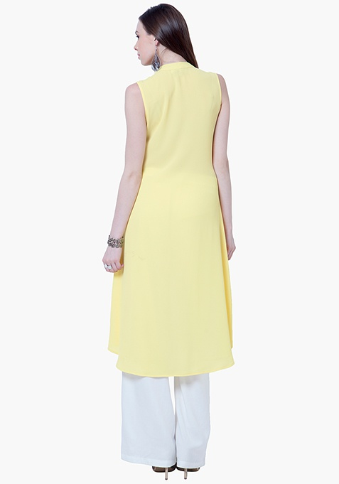 Flared High-Low Tunic - Yellow