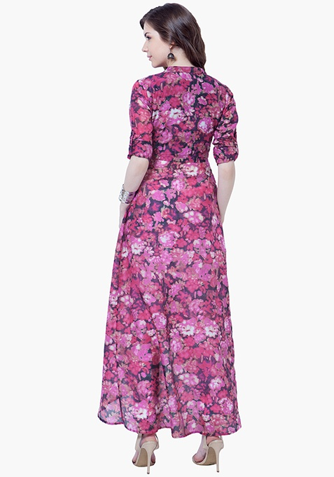 Sheer Maxi Tunic - Pink Floral